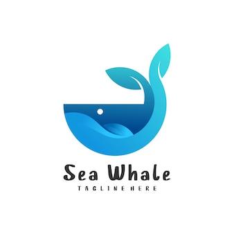 Logo ilustracja wieloryb gradientowy kolorowy styl