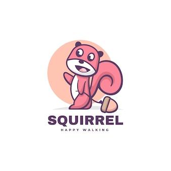 Logo ilustracja wiewiórka prosty styl maskotka.