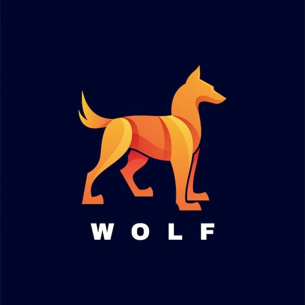 Logo ilustracja wilk gradient kolorowy styl.