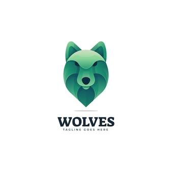 Logo ilustracja wilk gradientu kolorowy styl.