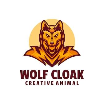 Logo ilustracja wilk płaszcz maskotka styl kreskówki.