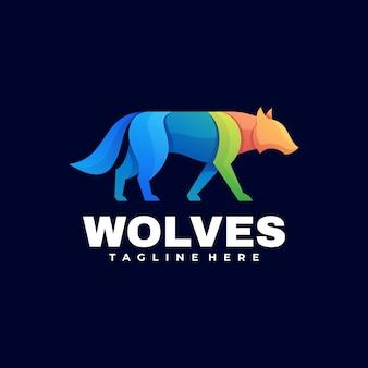 Logo ilustracja wilki gradientu kolorowy styl.