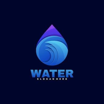 Logo ilustracja woda kolorowy styl gradientu.