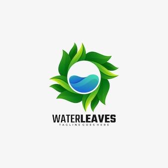 Logo ilustracja woda pozostawia gradient kolorowy styl.