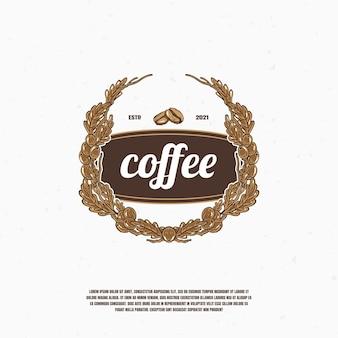 Logo ilustracja ziarna kawy wektor premium