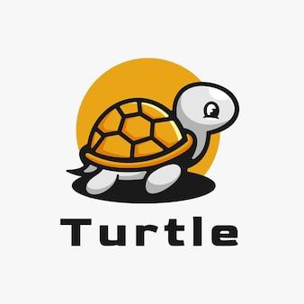 Logo ilustracja żółw prosty styl maskotki.