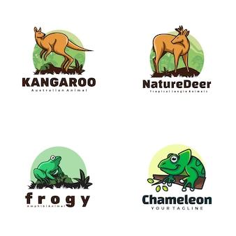Logo ilustracja zwierząt styl prosty maskotka.