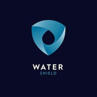 Logo ilustracje kropelki wody i tarcza