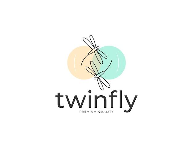 Logo ilustracyjne muchy ważki w pastelowym kolorze