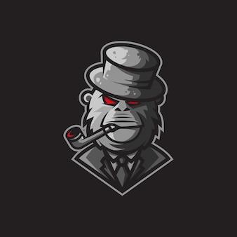 Logo ilustracyjne postaci goryla zwróconego gangsterem