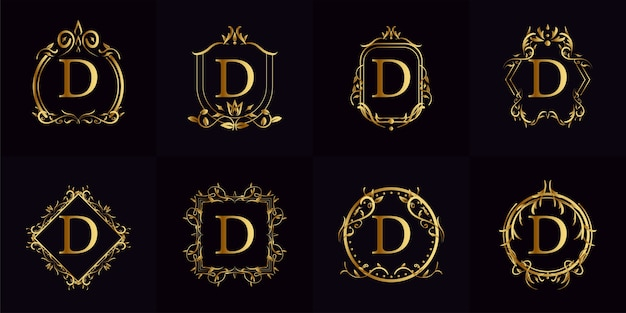 Logo inicjał d z luksusowym ornamentem lub ramką kwiatową, kolekcja zestawu.