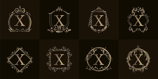 Logo inicjał x z luksusowym ornamentem lub ramką kwiatową, kolekcja zestawu.