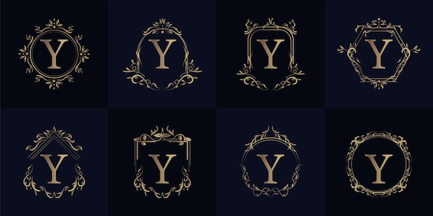 Logo inicjał y z luksusowym ornamentem lub ramką kwiatową, kolekcja zestawu.