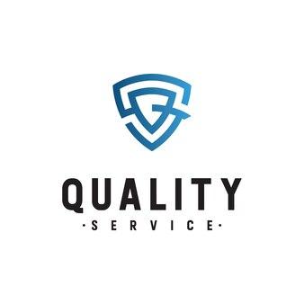 Logo initals list sq z szablonem bezpieczeństwa tarczy