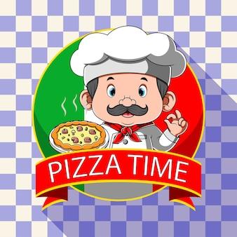 Logo inspiracji dla pizzerii z szefem kuchni
