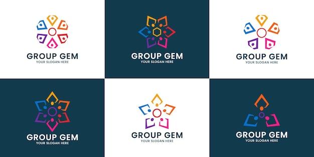 Logo inspiracji grupy diamentów do pracy zespołowej i rodziny