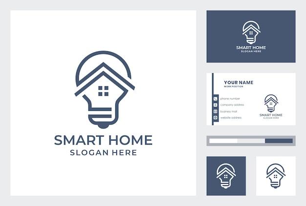 Logo inteligentnego domu z szablonem wizytówki.