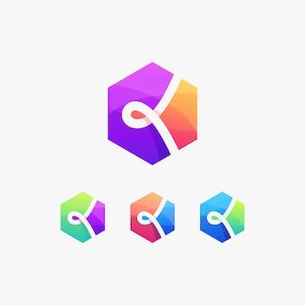 Logo k początkowe proste geometryczne