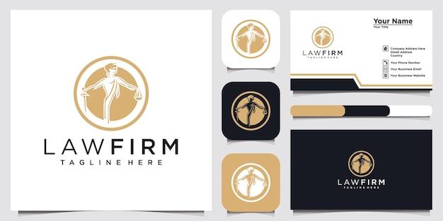 Logo kancelarii prawnej z inicjałową literą desgn i wizytówką