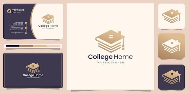 Logo kapelusza edukacyjnego łączy się z szablonem projektu domu. inspiracją do logo domu dla twojej firmy.