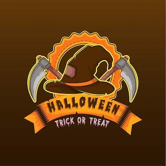 Logo kapelusza withchera i sierp ilustracji logo halloween
