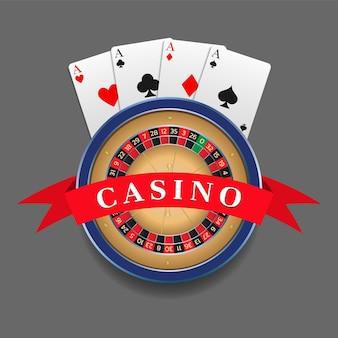 Logo kasyna, godło, odznaka. koło ruletki i cztery asy. element do projektowania stron internetowych, banerów, reklam. ilustracja wektorowa.