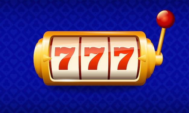 Logo kasyna. maszyna do gier, wygrana, trzy siódemki, ilustracja
