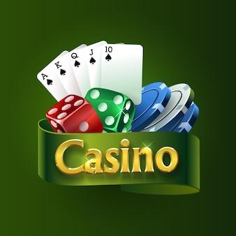 Logo kasyna na zielonej wstążce. najlepsze gry kasynowe. kości, karty, żetony