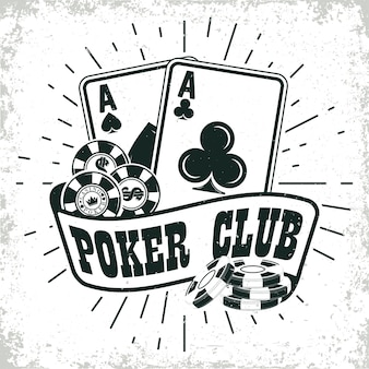Logo kasyna w stylu vintage, znaczek druku grange, emblemat typografii kreatywnego pokera,