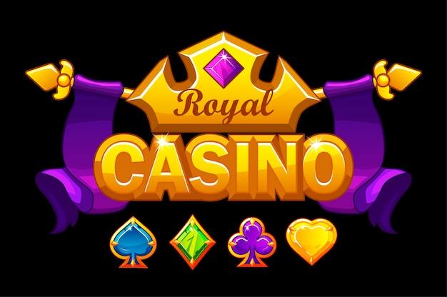 Logo kasyna ze złotą koroną i skarbem. królewskie tło hazardowe z symbolami kart do gry kamieni szlachetnych.