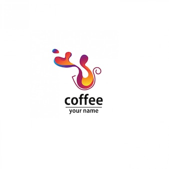 Logo kawiarni fala streszczenie kolorowy