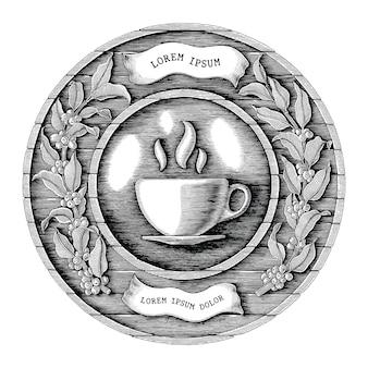 Logo kawiarni i etykiety produktu kawy ręcznie rysować styl vintage grawerowanie na białym tle