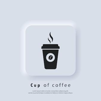 Logo kawiarni. ikona kubek gorącej kawy. kubek papierowy. ikona filiżanki kawy jednorazowe z logo fasoli. wektor. ikona interfejsu użytkownika. biały przycisk sieciowy interfejsu użytkownika neumorphic ui ux.