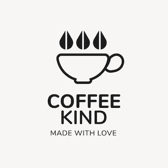 Logo kawiarni, szablon biznesu spożywczego do projektowania marki, rodzaj kawy wykonane z tekstem miłości