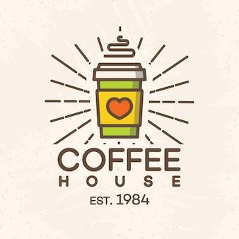 Logo kawiarni z papierowym kubkiem kawy w stylu kolor na białym tle na tle kawiarni