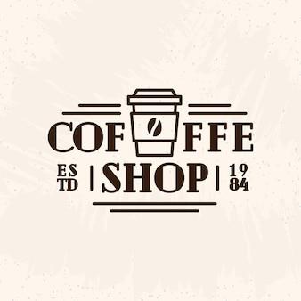 Logo kawiarni z papierowym kubkiem kawy w stylu linii czarnego koloru