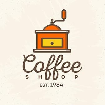 Logo kawiarni ze stylem kolor ekspresu do kawy na białym tle na tle kawiarni