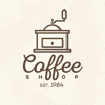Logo kawiarni ze stylem linii ekspres do kawy na białym tle na tle kawiarni