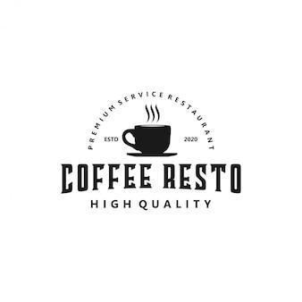 Logo kawy dla resto kawiarni i odznaka produktu