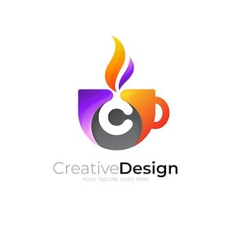 Logo kawy z szablonem projektu litera c, kolorowe 3d