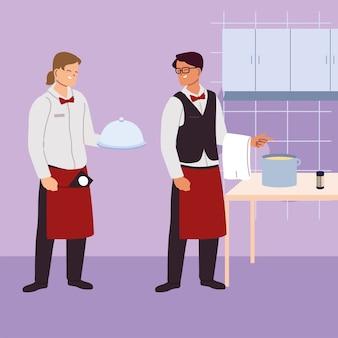 Logo kelnera z jednolitym projektem ilustracji