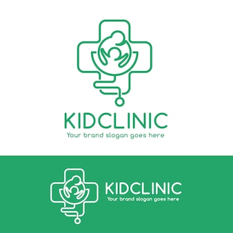 Logo kid clinic, rodzic i dziecko w symbolu krzyżowym ze stetoskopem