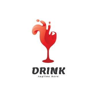 Logo kieliszek do wina splash drink