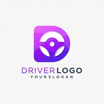 Logo kierowcy jazdy samochodem d.