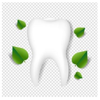Logo kliniki stomatologicznej z zielonymi liśćmi i białym tłem z siatki gradientu, ilustracji wektorowych.
