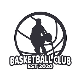 Logo klubu koszykówki z mężczyzną grającym w koszykówkę czarno-białe proste