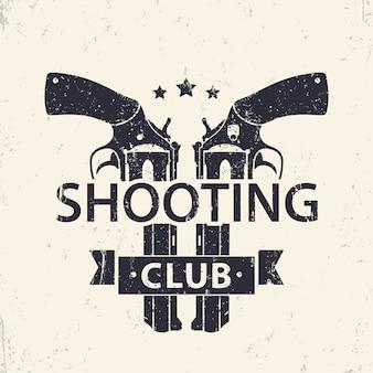 Logo klubu strzeleckiego, znak z dwoma skrzyżowanymi rewolwerami, pistolety, ilustracja