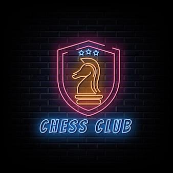 Logo klubu szachowego neony