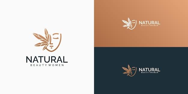 Logo kobiety i symbol liścia konopi