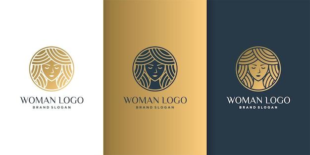 Logo kobiety piękna z nowoczesną koncepcją techniki kolorów i szablonem wizytówki